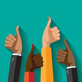 Flat design multicultural group thumbs up. EPS 10