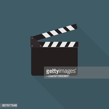 Flat Design Of Clapper Board Illustration : stock vector