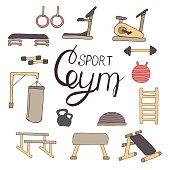 Flat design sport concept. Sports equipment background. Flat design of gym items set illustration vector. Hand drawn elements.