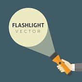 Human hand holding flashlight, light beam of flashlight