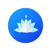 Flat design of yoga on blue background vector icon.