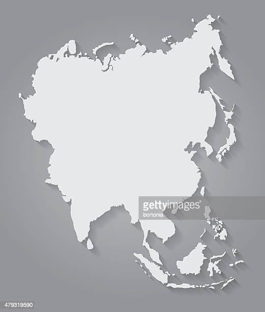 Flat Design Paper Asia Map