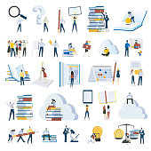 Set of vector illustrations for education, e-learning, online training and course, education app and cloud, investments in education, science, ebook