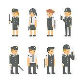 Flat design polices set illustration vector