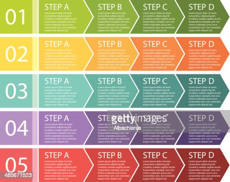 Flat Design Process Arrows Boxes Four Steps Vector Id S A Amp W on Boxing Steps Diagram