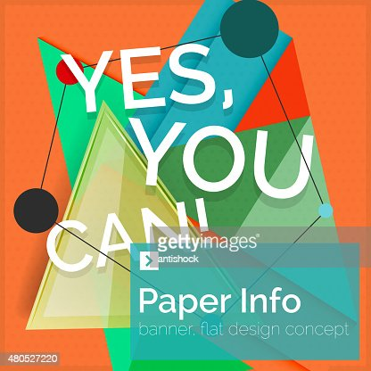 Flat design square banner with slogan : Vector Art