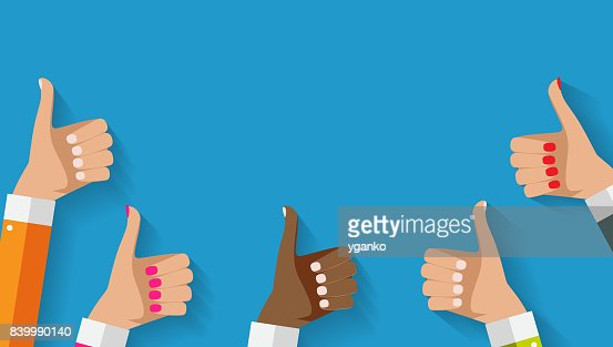 Flat Design Thumbs Up Background . Vector Illustration : stock vector