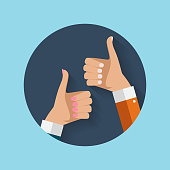 Flat Design Thumbs Up Icon Background . Vector Illustration EPS10
