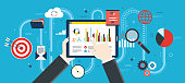 Flat design vector illustration concept of financial investment, analytics with growth report. Security and cloud data. Calculations and graphs of gains on the stock market and real cash earnings. Suc