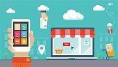 Retro flat style design vector illustration. E-commerce, shopping & delivery.