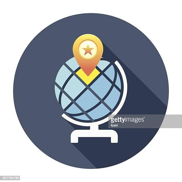 Flat Desk Globe Icon