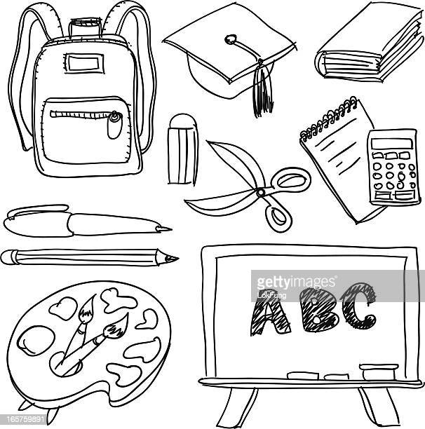 Flat drawings in black and white of school supplies