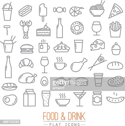 Flat food icons : Vector Art