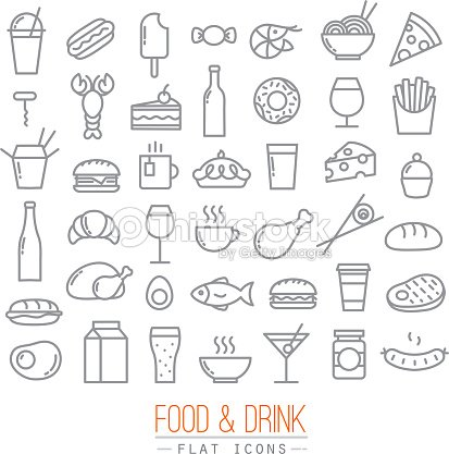 Flat food icons : stock vector