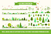 Create your own forest - flat constructor kit. Huge collection of infographic vector elements. Set of trees, bushes, florals and different details for nature landscape panorama scenes, app and game de