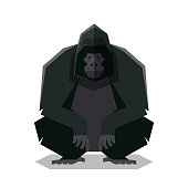 Vector image of the Flat geometric Gorilla
