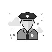 Police avatar icon in flat outlined grayscale style. Vector illustration.