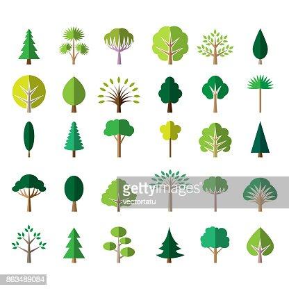 Flat green tree icons : stock vector