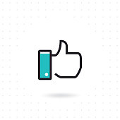 Flat hand like icon. Like symbol for websites and apps. Thumb up vector illustration. Colored flat line vector illustration