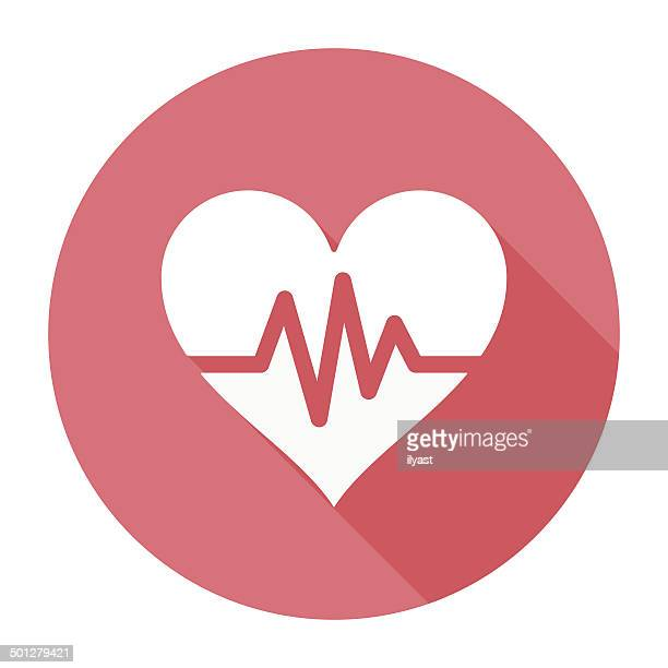 Flat Heart Beat Icon