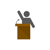 Auctioneer icon in flat color style. Business concept auction bidding bidder selling marketplace