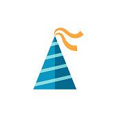 Birthday hat icon in flat color style. Object celebration head wear striped