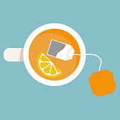 Cup of tea. Brewed bag tea with lemon.Vector illustration flat design. Isolated on background.