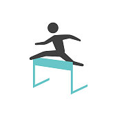 Hurdle run icon in flat color style. Sport competition running sprint challenge