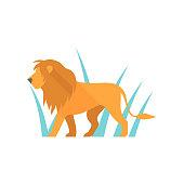 Lion icon in flat color style. Silhouette logo mammal carnivore jungle zoo safari