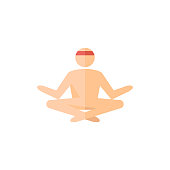 Meditation icon in flat color style. Concentration wellness health spirit