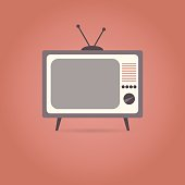 TV flat icon on red background. Retro style. Vector illustration.
