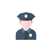 Police avatar icon in flat color style. People service security guard protect crime