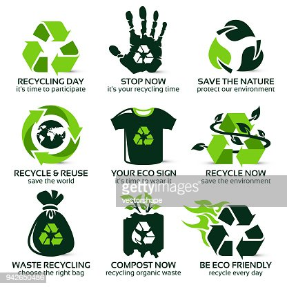 flat icon set for eco friendly recycling : stock vector