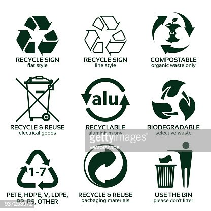 flat icon set for green eco packaging : stock vector