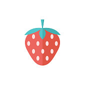 Strawberry chocolate icon in flat color style. Fruit food dessert