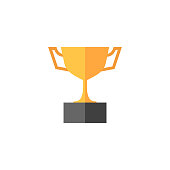 Trophy icon in flat color style. Winner champion prize honor celebration cup gold bronze
