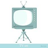 Flat icon tv set on tripod isolated on white