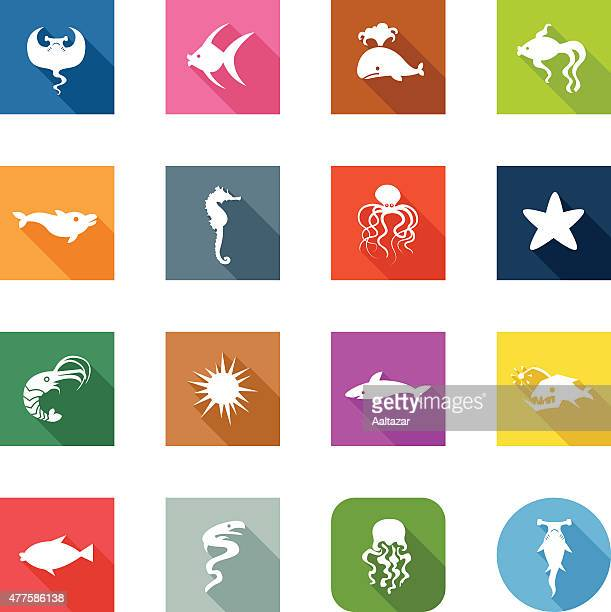 Flat Icons - Fishes