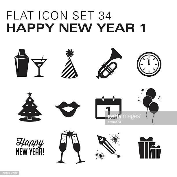 Flat icons New Years Black