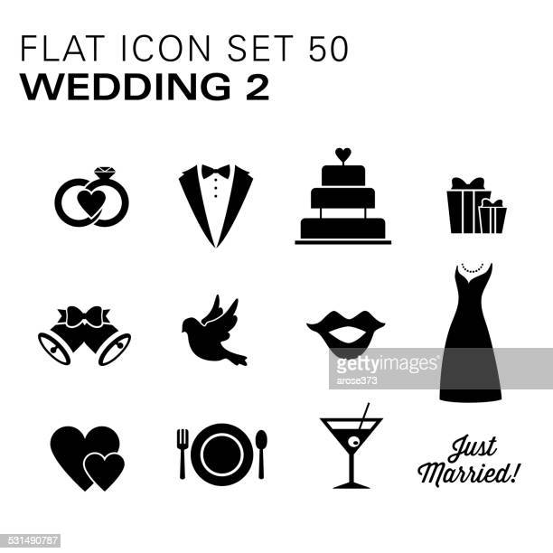 Flat icons Wedding Black