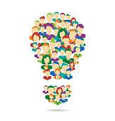 Flat Idea lamp symbolize crowdsourcing process isolated on white background
