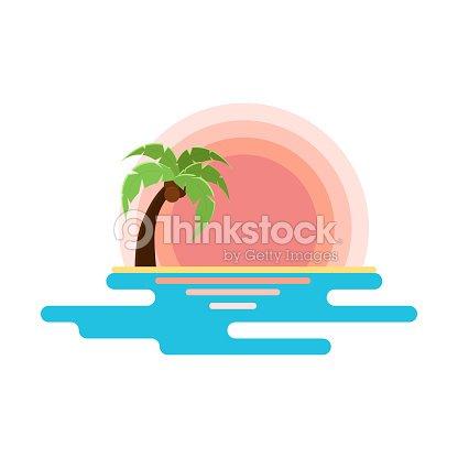 Dibujo Plano De Playa Con Puesta De Sol Mar Y Palmeras árboles