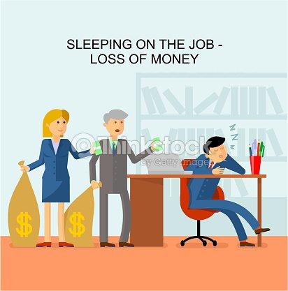 bild mann bei der arbeit im b ro schlafen kunden kommen mit taschen voller geld und halten geld. Black Bedroom Furniture Sets. Home Design Ideas