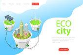 Flat isometric vector landing page template of eco city, solar panels, windmills, alternative green energy, wind turbines.