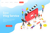Flat isometric vector landing page template of video blog, vlog, online channel, creating video content.