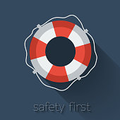 Lifebuoy icon in flat style. Vector illustration.