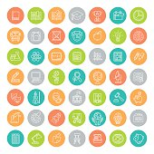 Set of modern flat line colorful round vector icons of school subjects, activities, education, science symbols. Concepts for website, mobile or computer apps, infographics, presentations, promotion