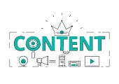 Flat line design word content concept of content digital marketing  with icons and elements. Can be used for book cover, report header, presentation,infographics, printing, website banner. Vector Illu