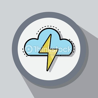 Flat line icon thunderstorm weather