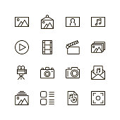 Gallery icon set. Collection of high quality outline media pictograms in modern flat style. Black information symbol for web design and mobile app on white background. Multimedia line icon.
